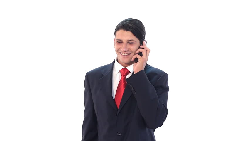 funny looking businessman with love on the cell phone - HD stock footage clip