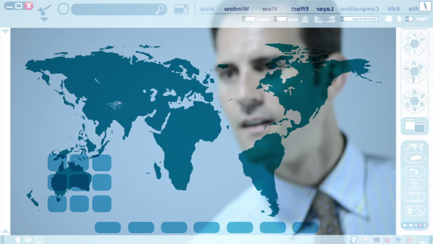 Man working with a world map on an interactive whiteboard. - HD stock footage clip