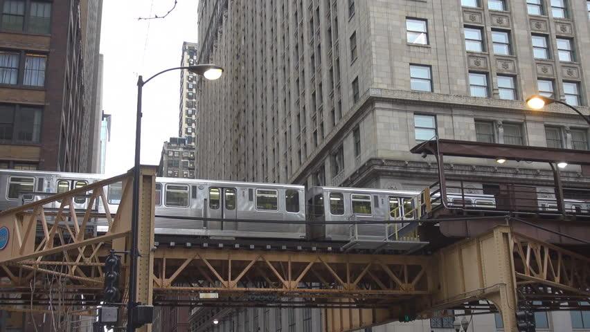 Metro train passing in downtown Chicago, Illinois, USA