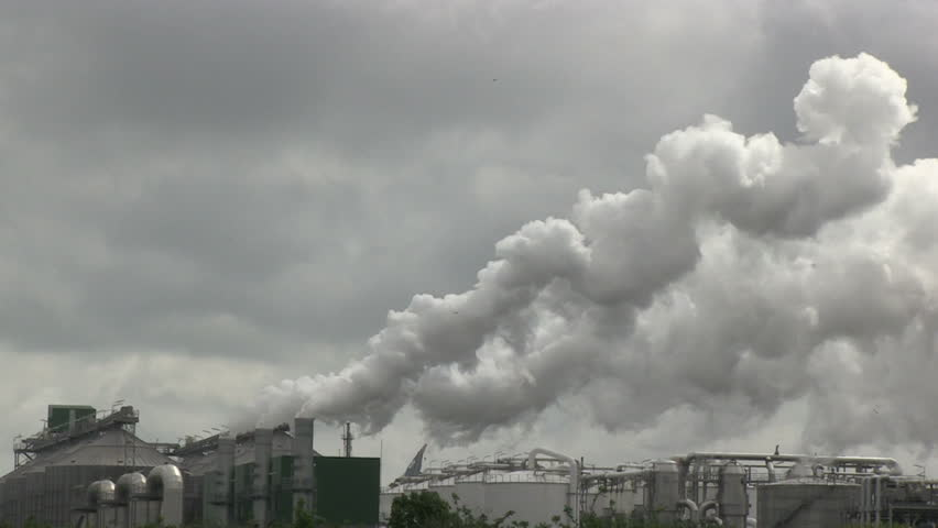 Heavy smoke from an industrial complex near Rotterdam, The Netherlands | Shutterstock HD Video #4017967
