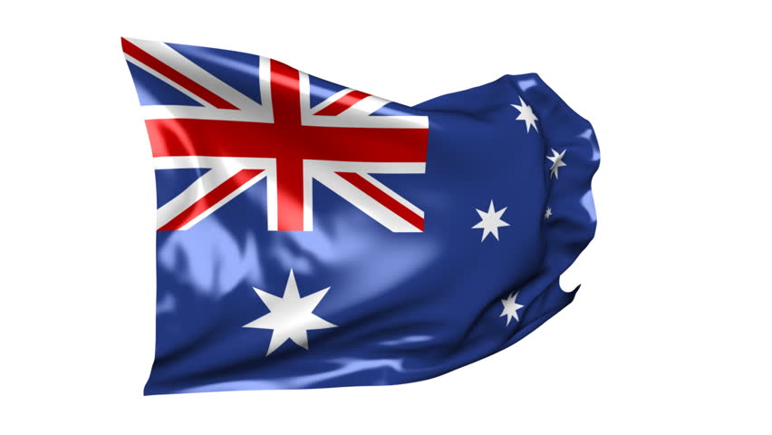 Flag of Australia 06B (HD) - Waving flag of Australia on the white background. Nice silk material, real simulation. Alpha matte for change of the white background included. - HD stock footage clip