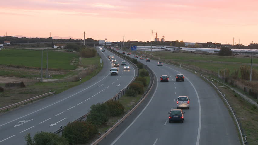 Time lapse of highway at sunset - HD stock footage clip
