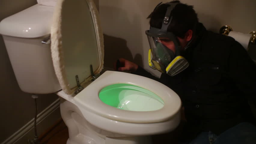Cleaning an extremely toxic toilet.