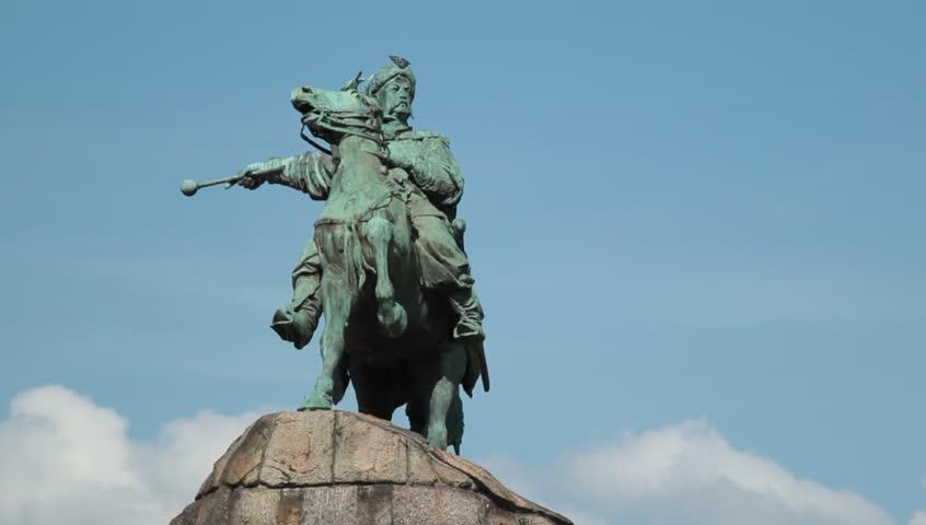 outdoor video of historic monument to Hetman Bogdan Khmelnitsky  - HD stock footage clip