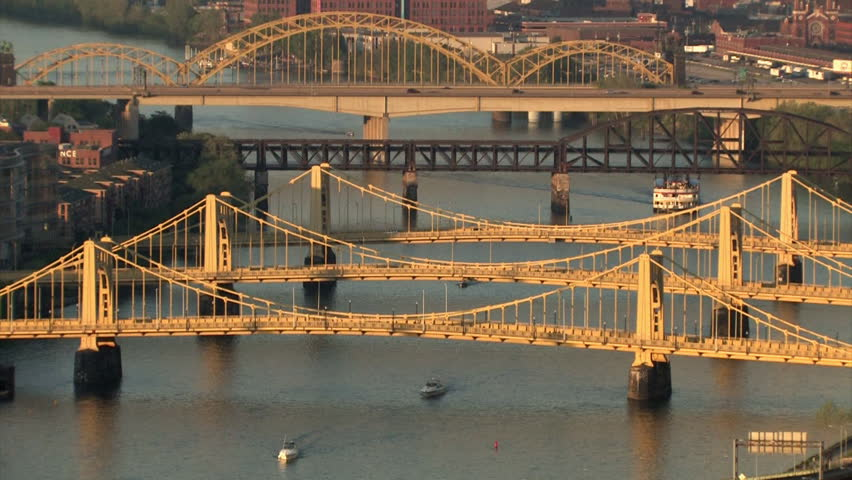 The Three Sisters Bridges spanning the Allegheny River in Pittsburgh, Pennsylvania. - HD stock footage clip