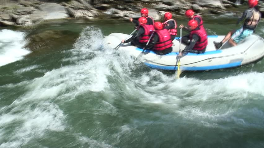 Rafting on the Noguera Pallaresa - Pyrenees in Spain. Tripod. 1080i, not rendered. - HD stock video clip