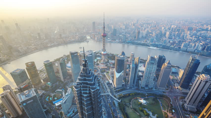 """Shanghai from day to night, time lapse.  Aerial view of high-rise buildings with Huangpu River in Shanghai, China.  - Original Size 4k (4096x2304).  -  >>> Please search similar: """" ShanghaiSkyline """" . 