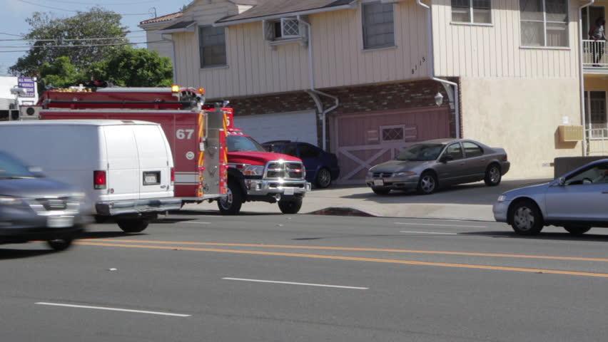 Los Angeles, CA - CIRCA May 2013: LAFD Paramedic Ambulance Runs Emergency To Hospital