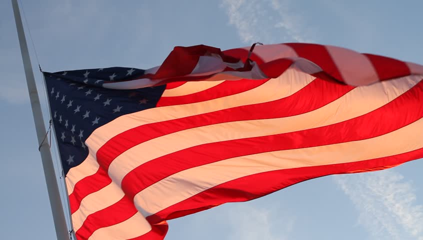 USA Flag in the Wind Slow Motion - HD stock footage clip