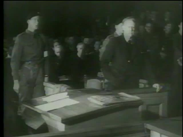 Vidkun Quisling stands in the courtroom during the hearing of the trial of collaboration with Germany during WWII, Norway circa 1945-MGM PICTURES, UNIVERSAL-INTERNATIONAL NEWSREEL, USA, filmed in 1964 - SD stock footage clip