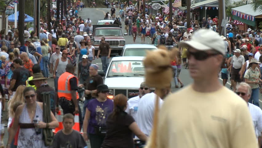 MAKAWAO, HAWAII - CIRCA 2011: Time Lapse of 4th July Parade in Makawao Hawaii - Circa 2011 - HD stock footage clip