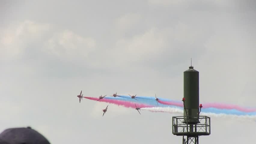 VOLKEL, THE NETHERLANDS - JUNE 14: Red Arrows display at Airshow Volkel 2013
