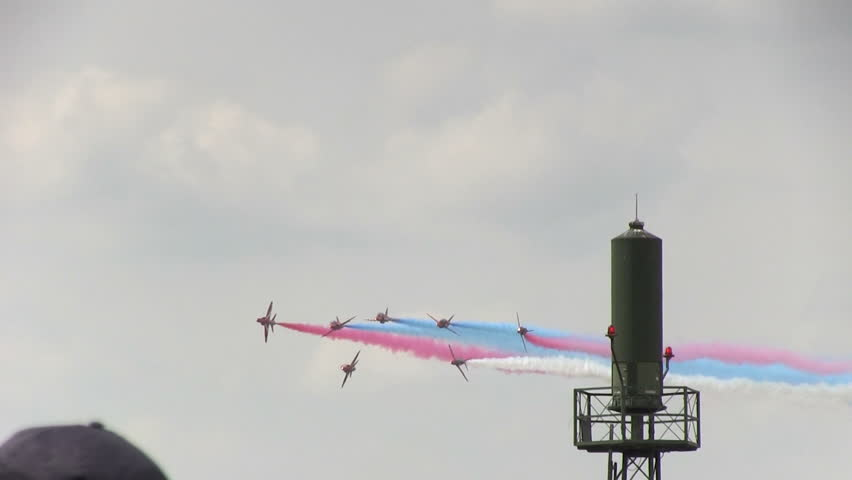 VOLKEL, THE NETHERLANDS - JUNE 14: Red Arrows display at Airshow Volkel 2013