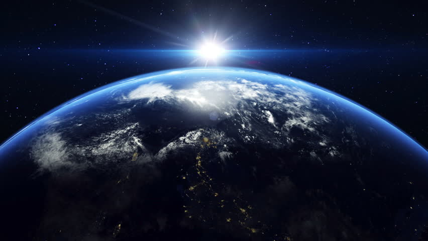 The earth rotating and the sun coming up
