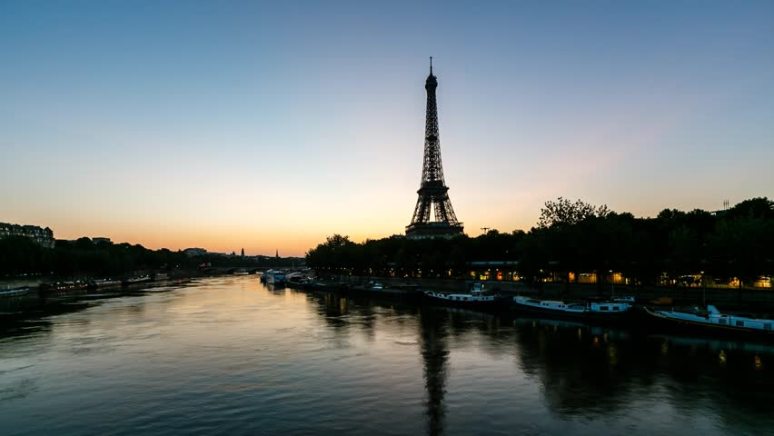 Sunrise at Eiffel Tower and Seine River, Timelapse Video, Paris, France | Shutterstock HD Video #4194124