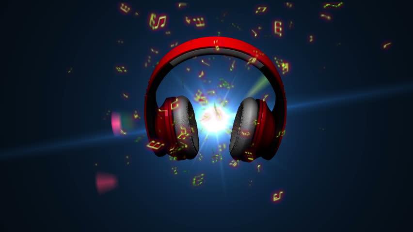 Headphones Loop. - HD stock video clip