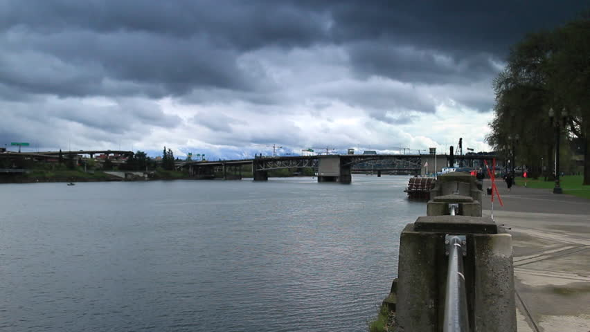 Portland, Oregon - April, 2013 - Northern Waterfront trail on a gloomy day.