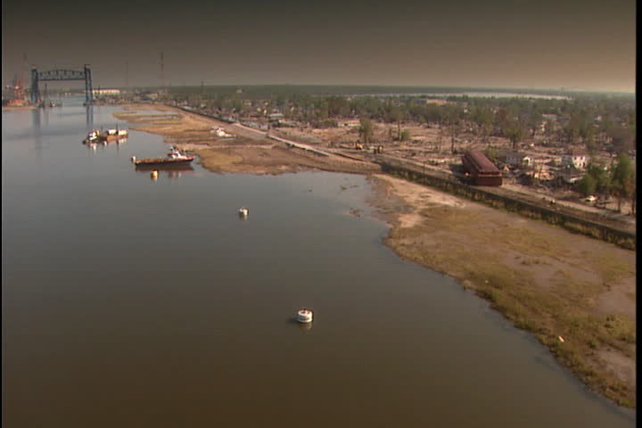 View of the coastline and deserted cityscape  in New Orleans after Hurricane Katrina (October 2005)