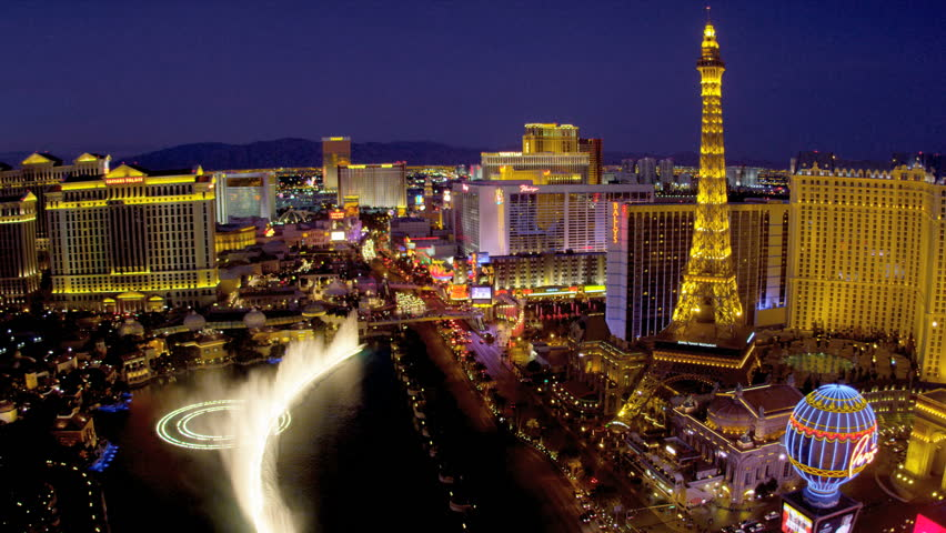 Illuminated view Paris hotel Eiffel Tower nr Bellagio fountains, Las Vegas Strip, USA | Shutterstock HD Video #4206490