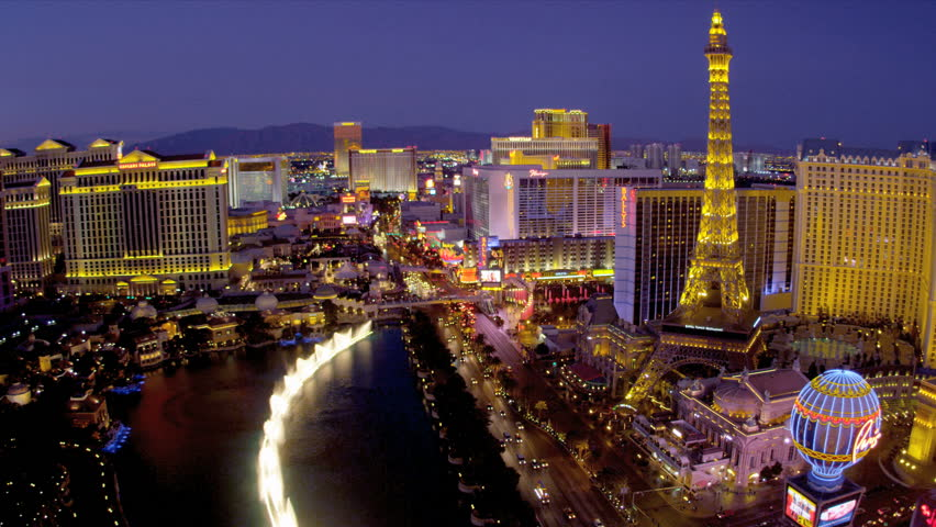 Illuminated view Paris hotel Eiffel Tower nr Bellagio fountains, Las Vegas Blvd., USA | Shutterstock HD Video #4206535