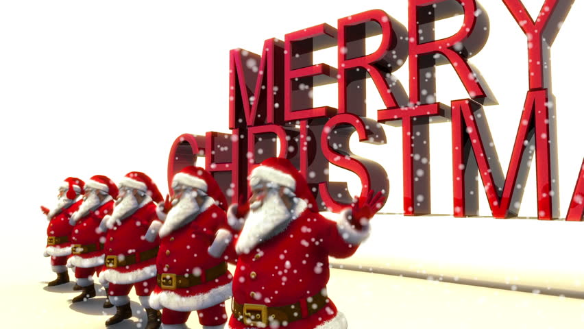 5 Santas Dancing in front of Merry Christmas text with snow. Loop.