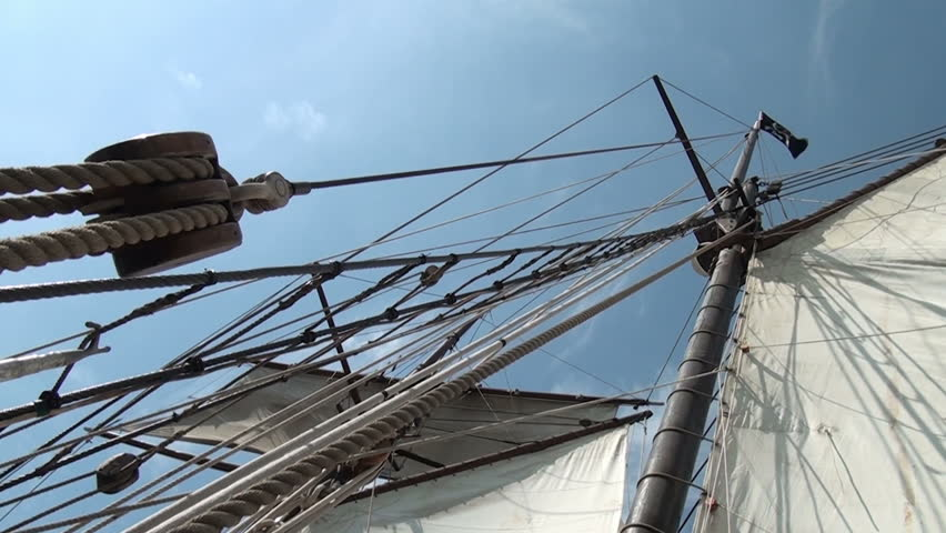 Nautical vessel - Sailboat mast - Part 5  / Nautical vessel - A sailboat mast seen from below - Pirate sail ship - Video high definition - HD stock footage clip