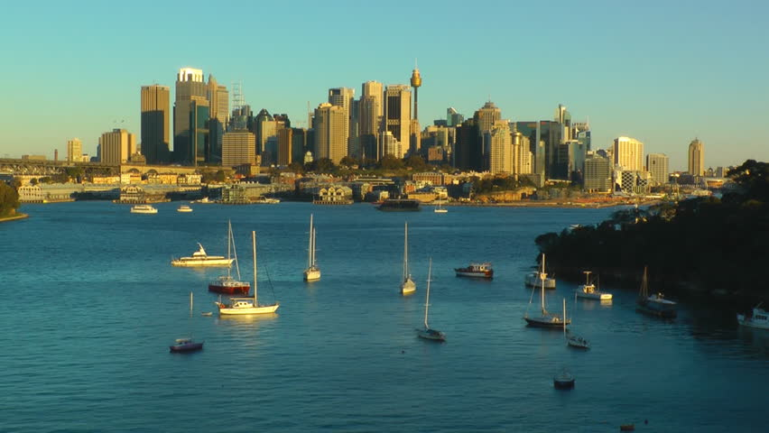 Time-lapse video of Sydney city skyline at late afternoon with rapid change of light #4226722