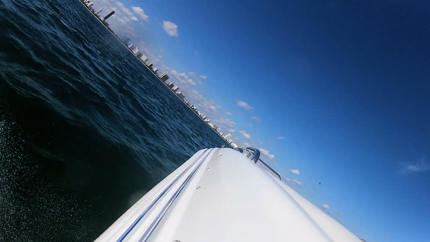 Seascape view from luxury motor vessel used for business and pleasure downtown Miami city Florida, USA - HD stock footage clip
