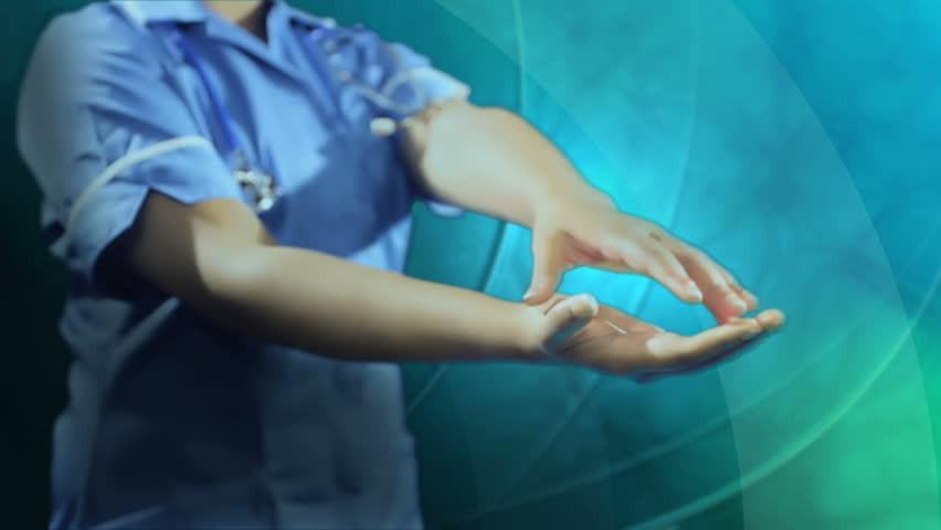 Montage 3D image of nurse using medical digital projected graphics for global scientific health research