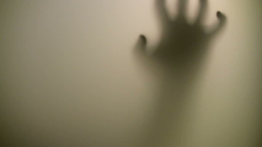 Victim. Terrified hand behind glass - HD stock footage clip