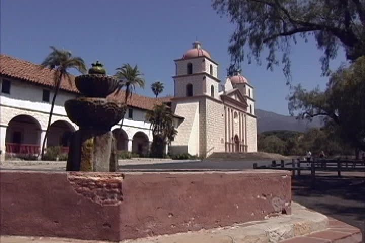 Santa Barbara mission - SD stock footage clip