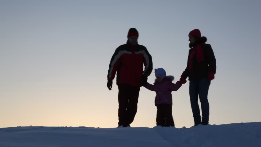 Silhouette family three do lodge  - HD stock footage clip
