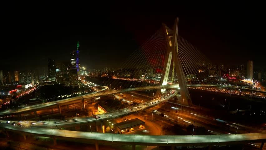 The Octavio Frias de Oliveira bridge or Ponte Estaiada cable stayed suspension bridge built over the Pinheiros River in the city of Sao Paulo, Brazil  - HD stock footage clip