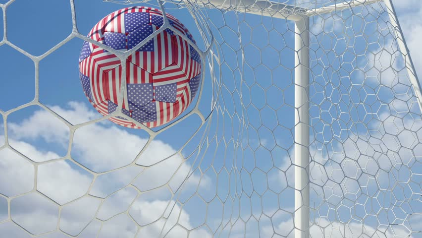 USA Ball Scores in Slow Motion with Sky Background - HD stock video clip