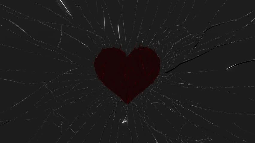 Shattered glass: red broken heart shape. Alpha is included
