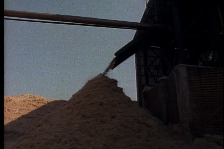 Sugar cane bagasse flows from chute onto pile outside of factory in Brazil.