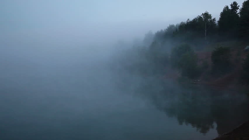 Fog on the forest morning lake. Timelapse 1920x1080 hd video