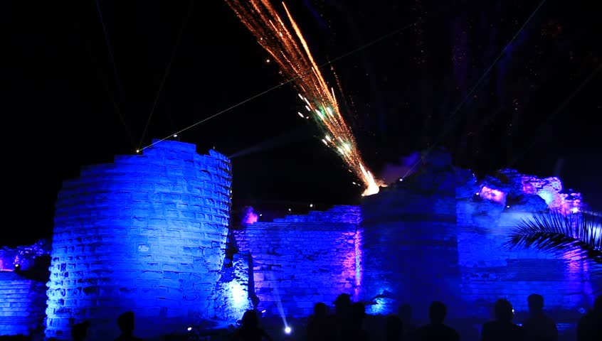 Fireworks and lasers of old wall
