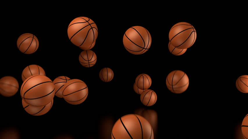 Many Basketballs Falling With Alpha Channel Stock Footage