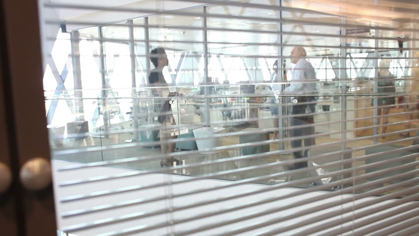 Candid view through blinds of office of workers talking in large business environment. High quality HD video footage