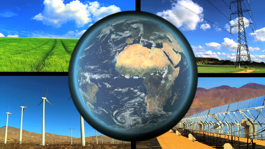 Montage of renewable energy sources with revolving earth graphic - HD stock video clip