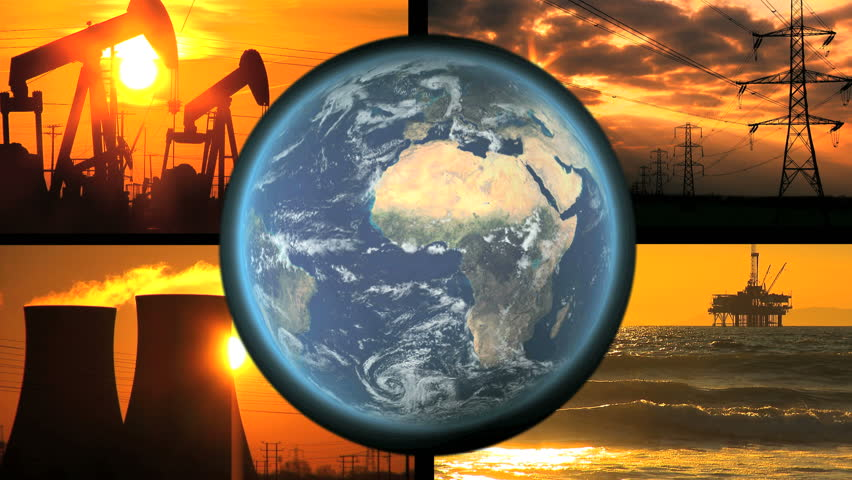 Montage of fossil energy production with revolving earth graphic - HD stock video clip