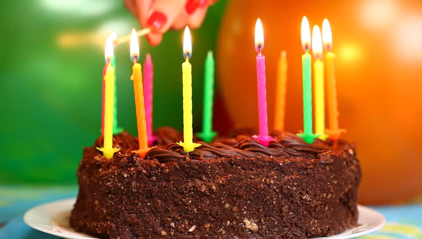 Candles on the birthday cake episode 1 - HD stock video clip