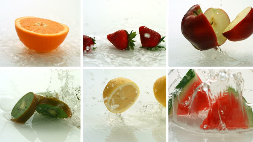 Fruit splashing, video montage, slow motion