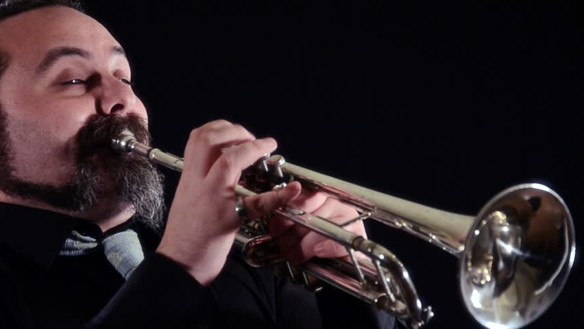 trumpet player, close up  - HD stock video clip