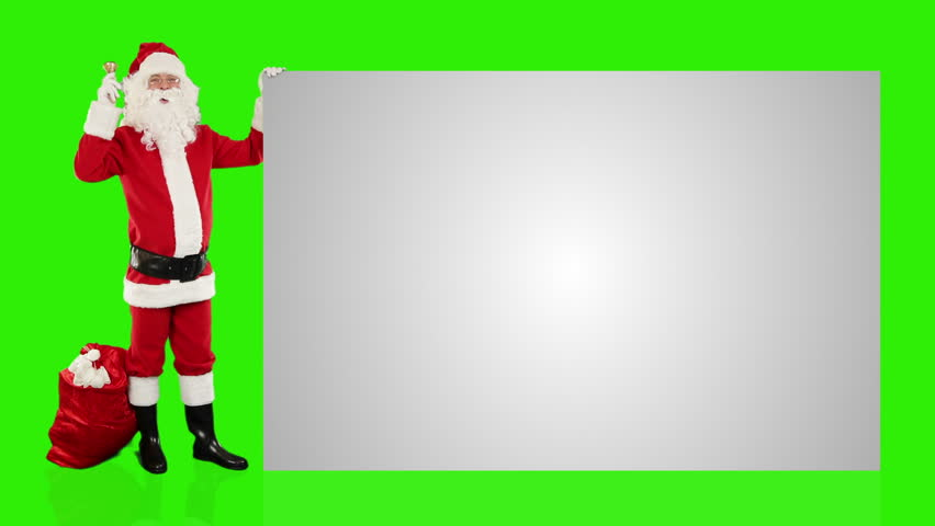 Santa Claus shaking bell presenting a white sheet, Green Screen - HD stock footage clip