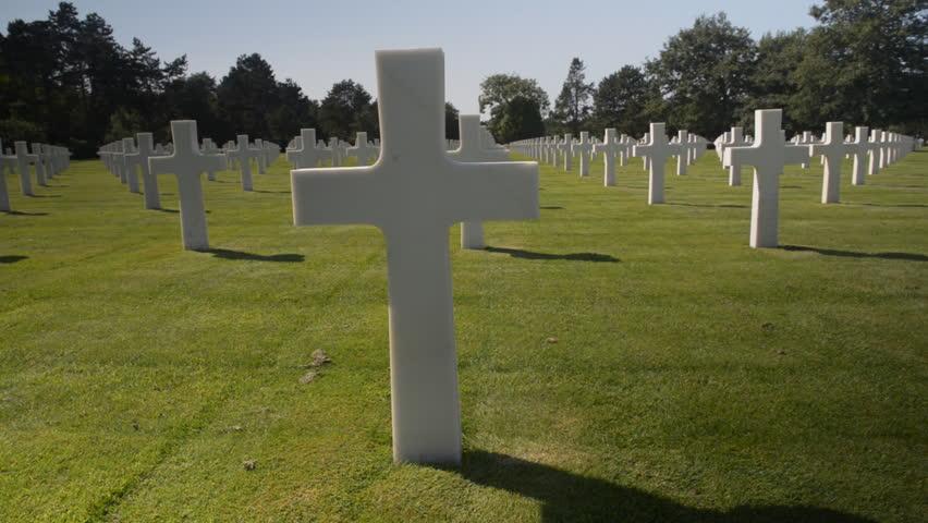 American war cemetery, France - HD stock video clip
