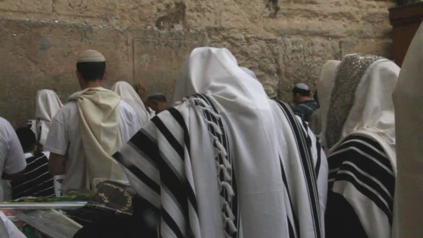 Unidentified men in tefillin praying at the Wailing wall (Western wall). Jerusalem. Israel - HD stock video clip