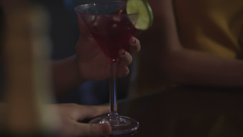 Close up of hands at a bar - HD stock footage clip