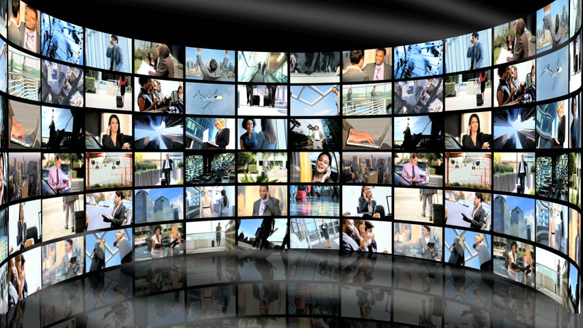 3D video wall image montage of multi-ethnic male and female business people and world travel